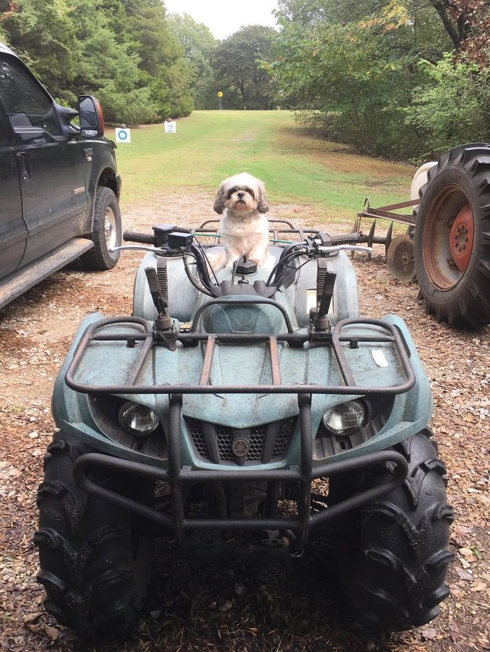 My baby loves to ride the four wheeler!
