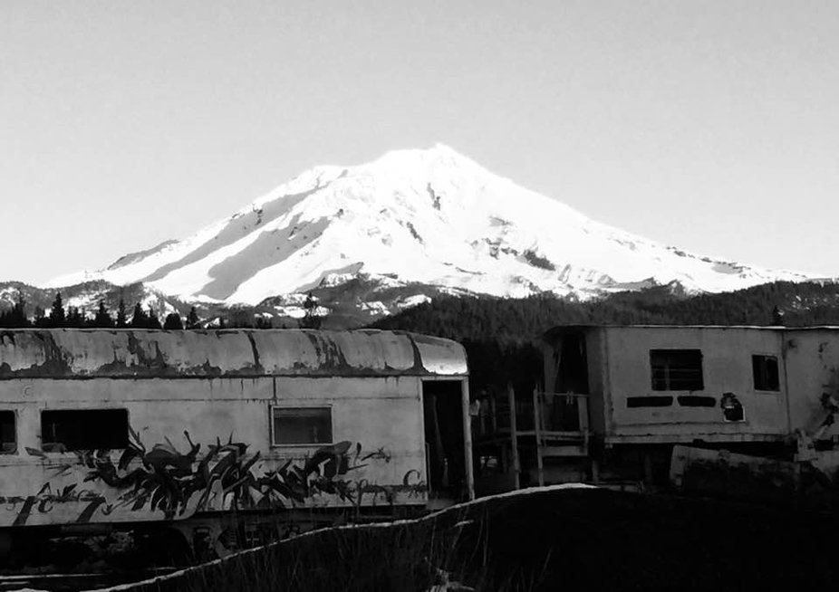 Mt Shasta with the old McCloud River railroad. B&W photo contest.