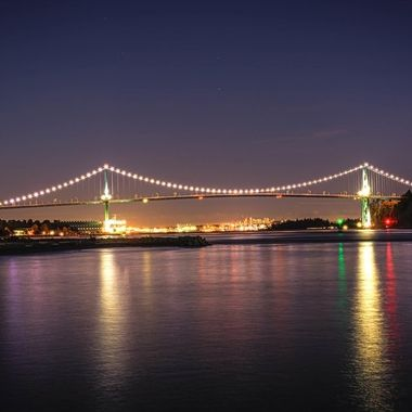 A long exposure of the Lionsgate Bridge at night