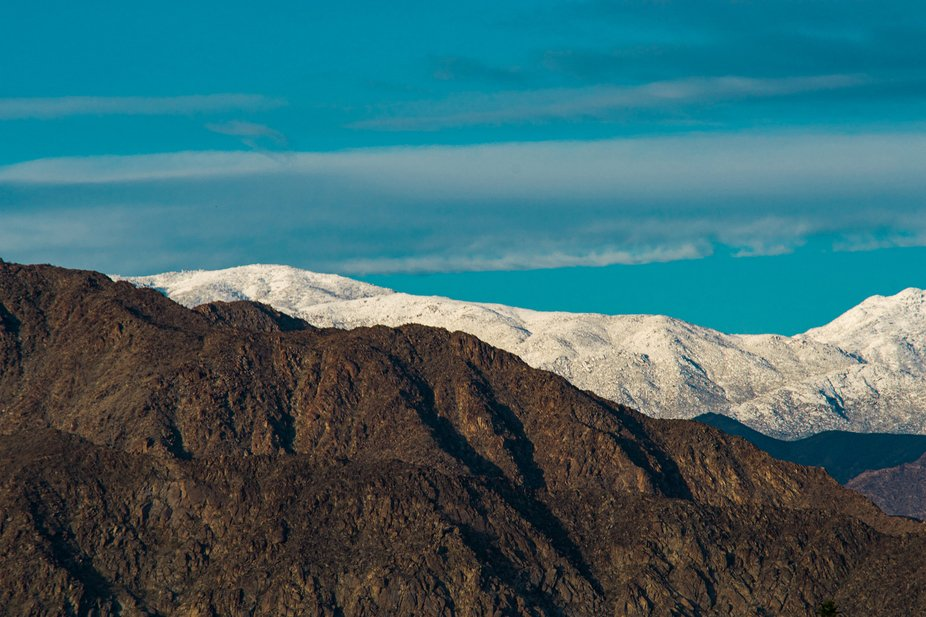 The aftermath after a rain storm on a winter day in Palm Springs.