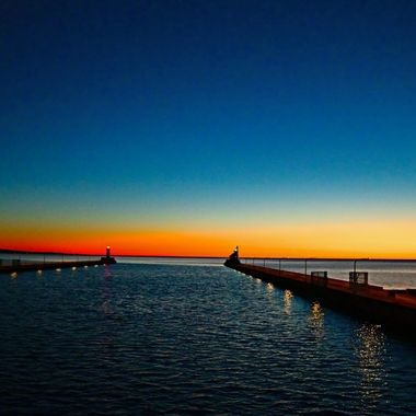 Shot from the liftbridge in Duluth, Mn. The ship canal into Duluth Harbor