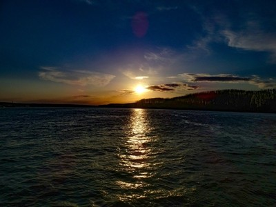 Sunset over the Danube river