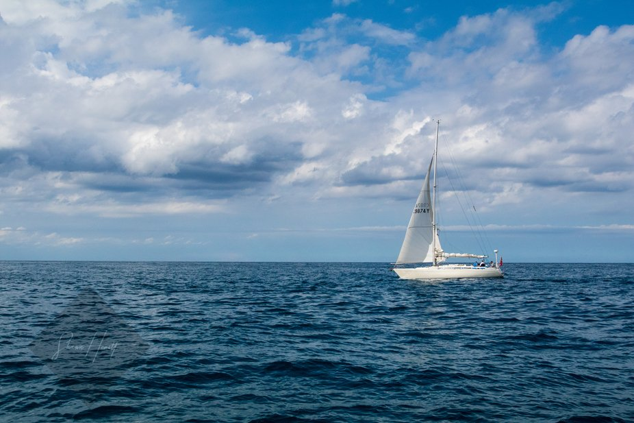 A lonely sailboat in the Adriatic Sea