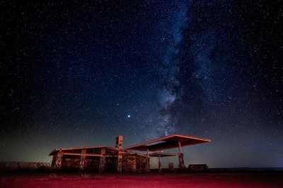 Abandoned Building Under the Stars