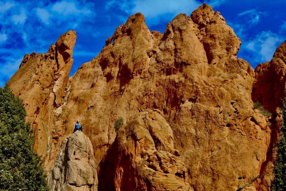 A rock climber at Garden of the Gods in Colorado