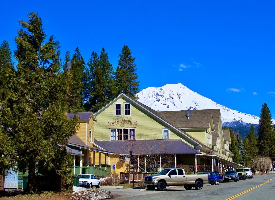 McCloud, California with Mt. Shasta and the Historic McCloud Hotel.