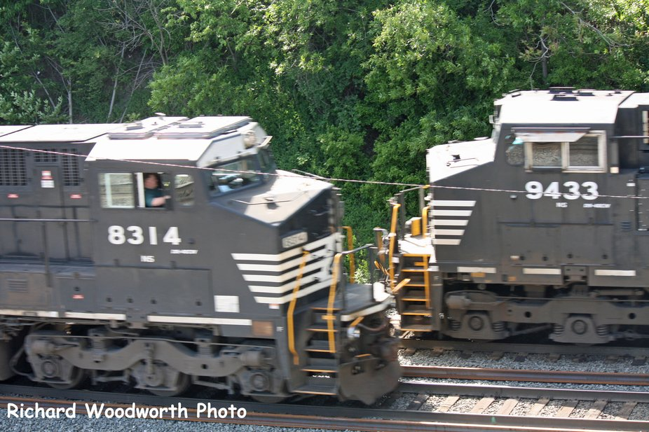Captured this freight train meet, a very rare occurrence in a photo, as timing and location both ...