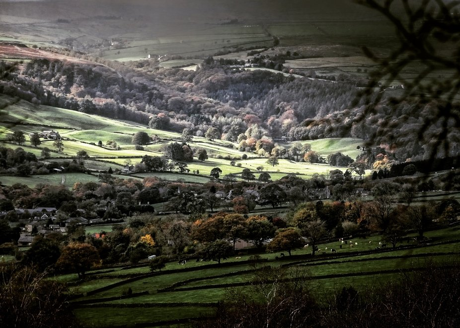 Yorkshire countryside with dappled sunlight