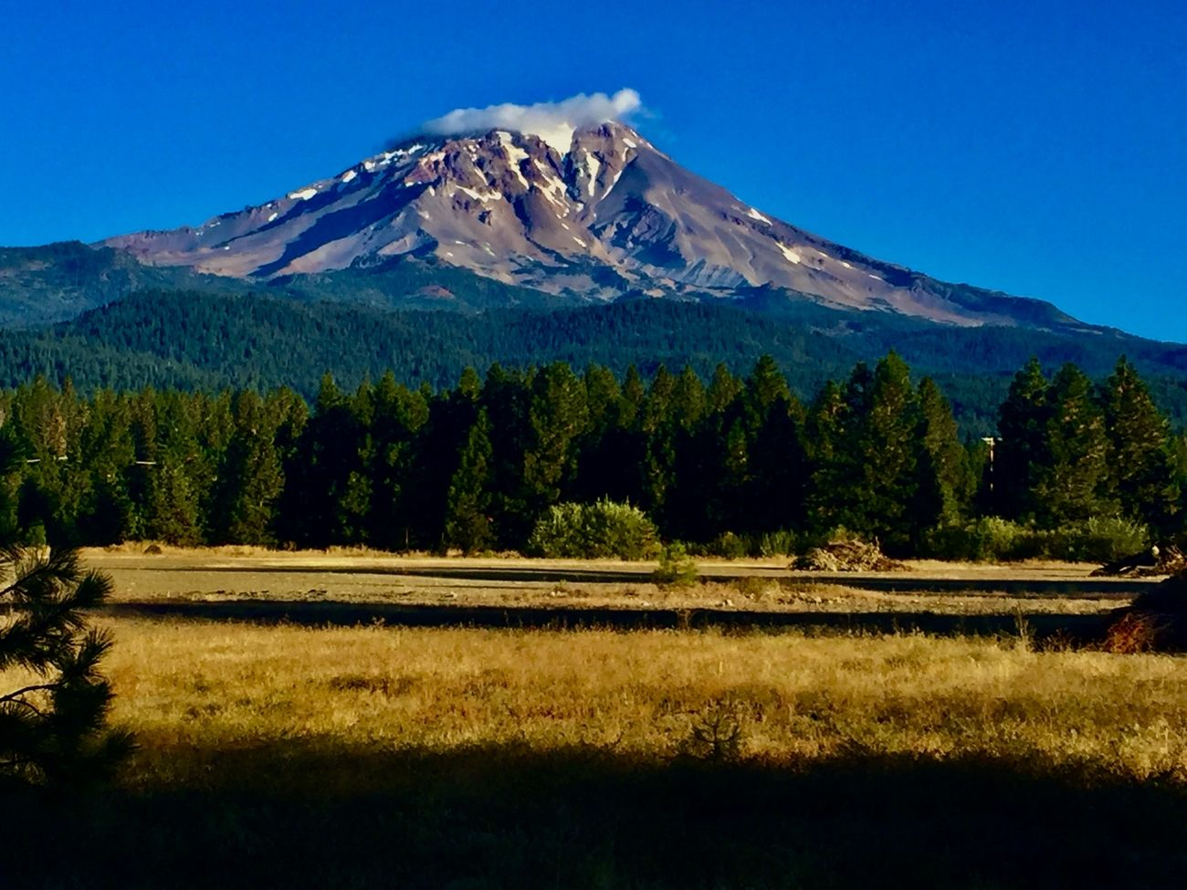 Mt. Shasta taken from the old mill in McCloud, California