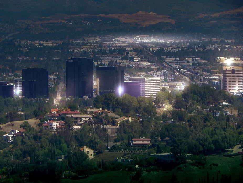 San Fernando Valley as seen from hills above Woodland Hills, California