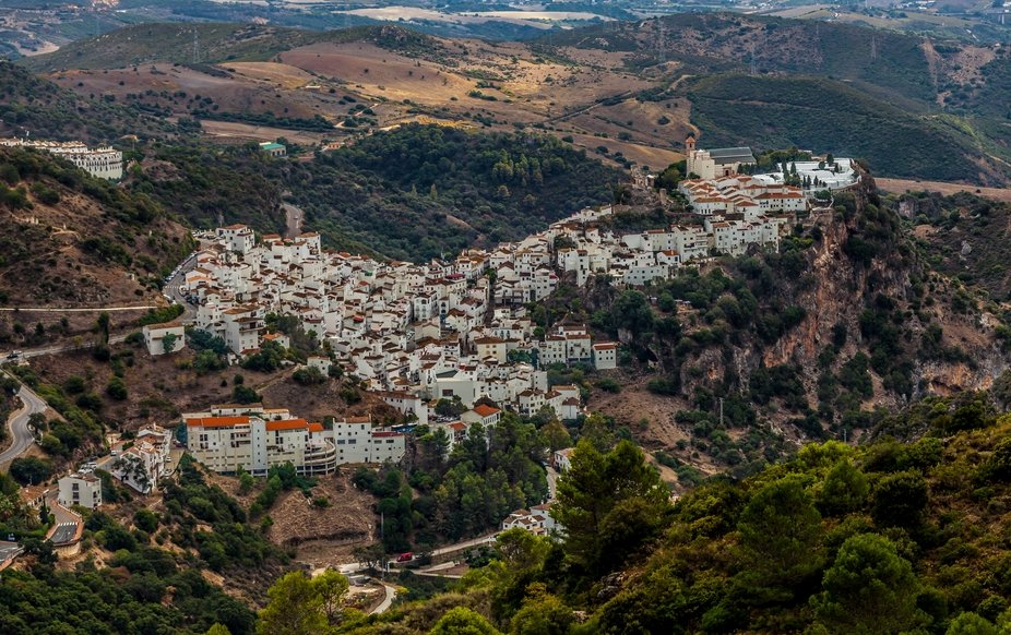 Aerial view of typical Andalusian white village