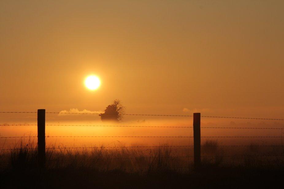 beautiful sunrise through the fog, near pakenham, Melbourne, Australia