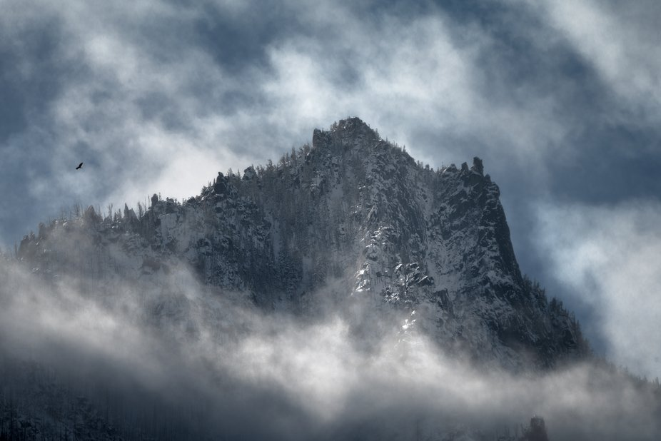 Swirling clouds high above the mountains near Leavenworth, WA.