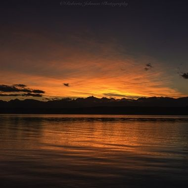 Such glorious skies to end the day. We sure are blessed with beauty in the PNW. The Olympic Mountains, Hood Canal, Washington, USA