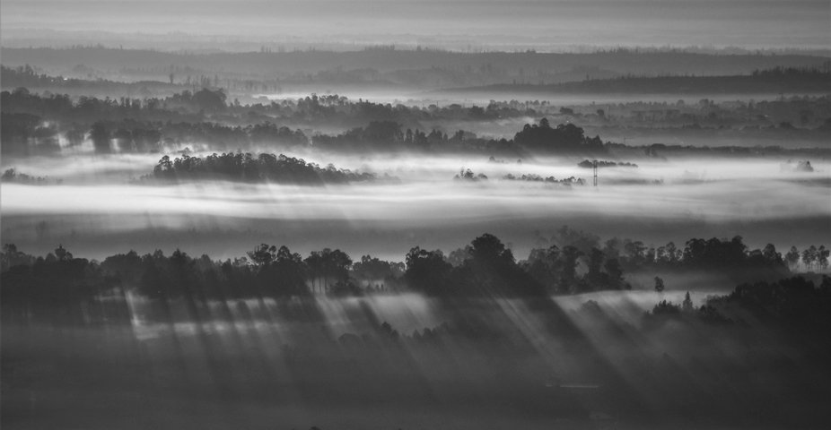 Sunrise over the fog on the Dao Valley, Central. Portugal