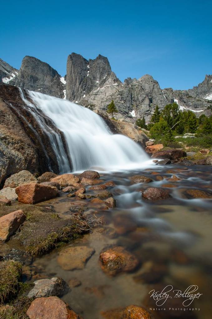 This waterfall in the Cirque of the Towers is not easy to get to, but it's totally worth it!