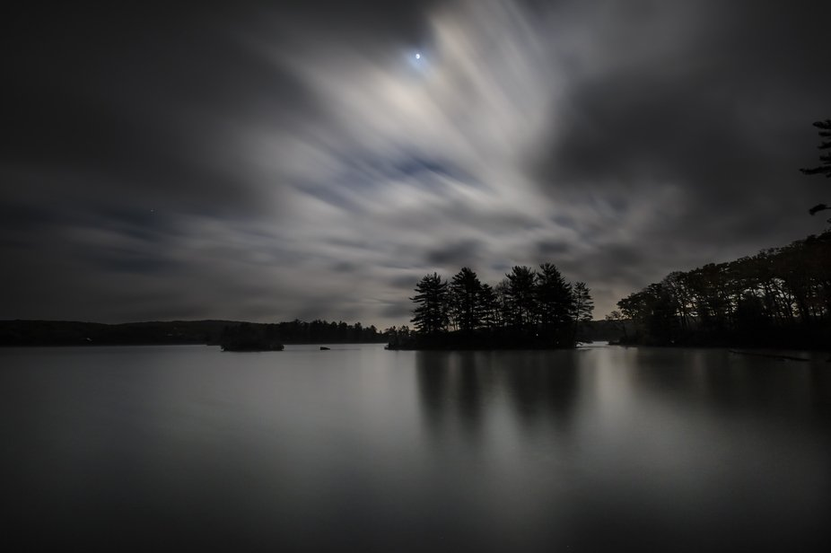 Night time long exposure view of Lake Tiorati in Harriman State Park in New York.