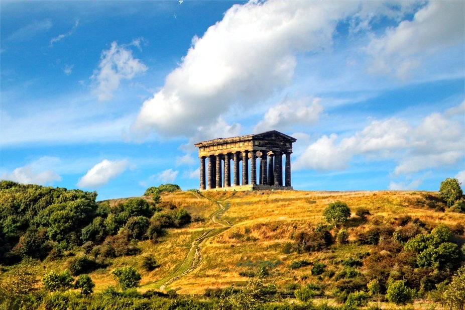 This is Penshaw monument near Sunderland, its on a hilltop, and be seen, from miles away.