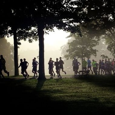 Runners taking part in an early misty morning run
