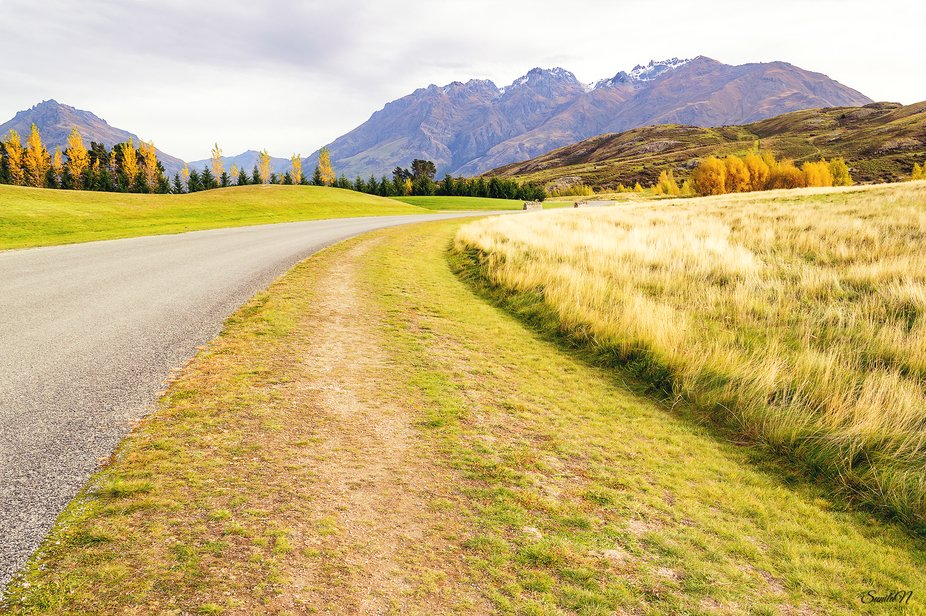 Pristine Landscape near Queenstown in Autumn season with beautiful lush green surroundings and mo...