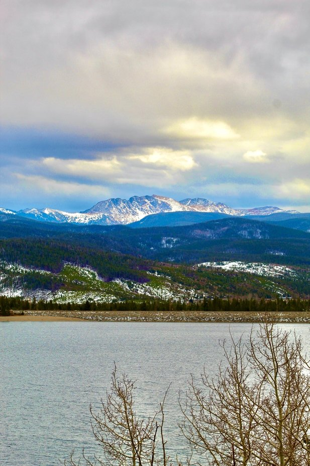 Approaching snow storm in Shadow Mountain Lake near Grand Lake Colorado