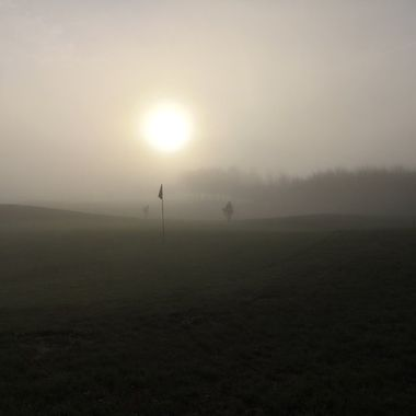 Misty morning on the golf course