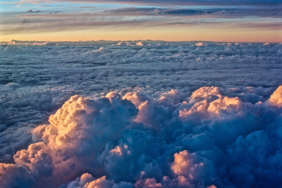 Sunset on an ocean of clouds on a flight back from L.A.