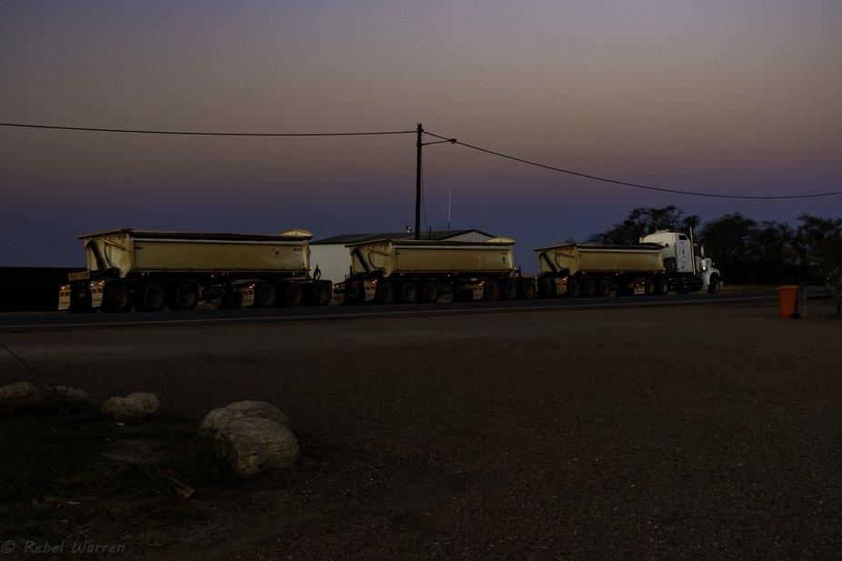 Road Train at Sunset 5491