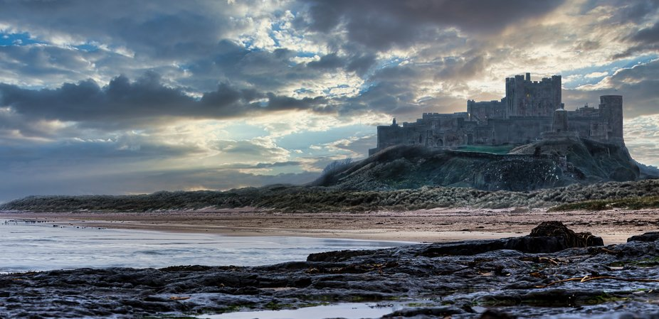 Bamburgh Castle situated in Northumberland along the north east coast of the UK.