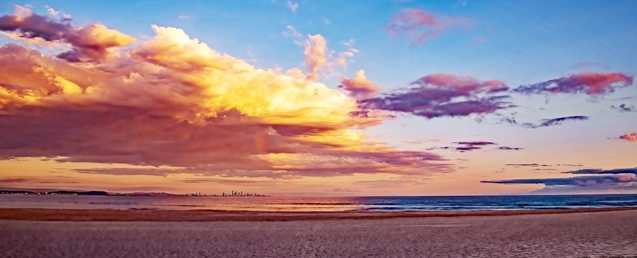 Gold Coast early morning shot from behind at sunrise.