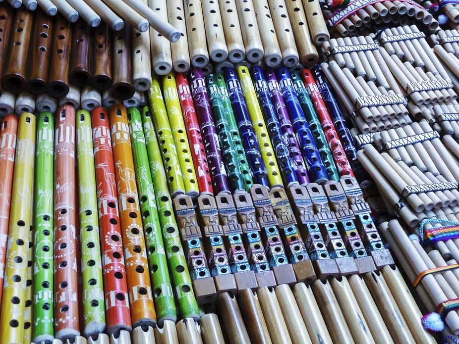 Peruvian musical instruments.