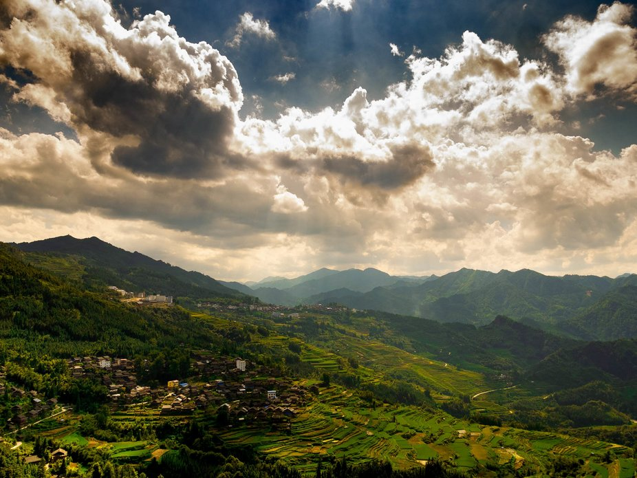 Jiabang Rice Terraces are built on the mountain by the Miao people.  Those terraces can be seen f...