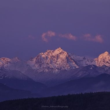 Mt. Constance a glow this morning. What a gorgeous way to begin the day. The Olympic Mountains, Hood Canal, Washington, USA