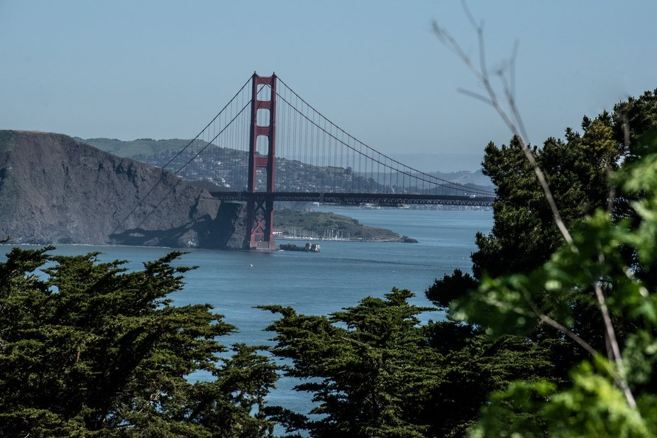 A shot of the Golden Gate Bridge from across the bay.