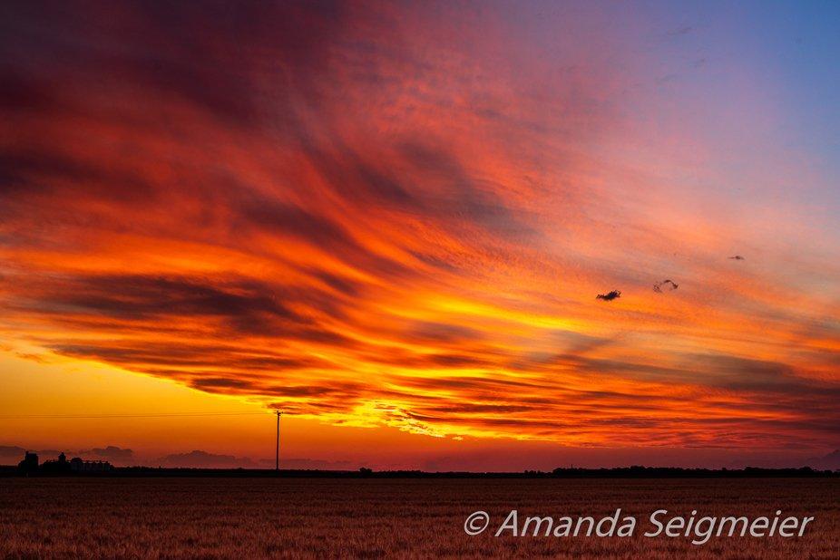 Sunset over barley crop taken with Nikon D750, 50mm  prime lens, f/8 @ 1/100s, ISO 100.