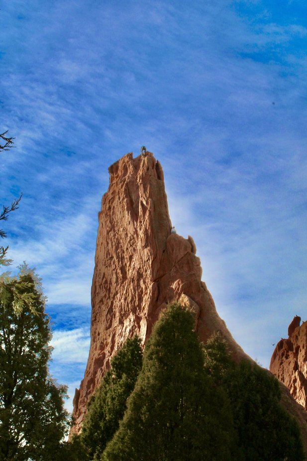 A climber free hand at the Garden of the Gods in Colorado