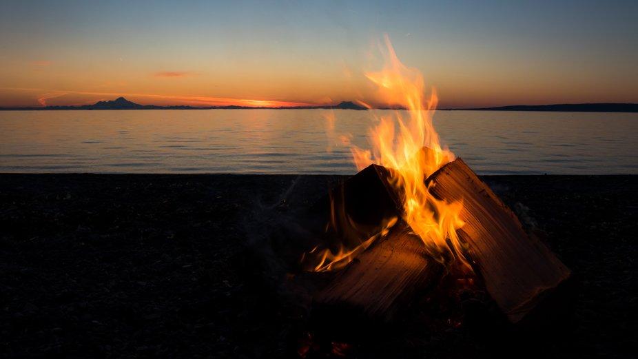 Beach Fire at Sunset
