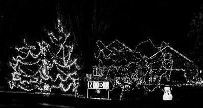 Christmas decorations in black and white
