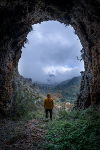 Gazing Makrinitsa village from Koukourava's cave.