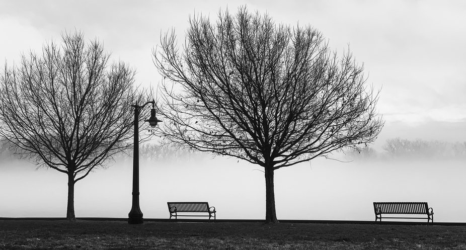 A view of the Hudson River at Athens NY on Thanksgiving morning 2020.  The empty benches led me t...