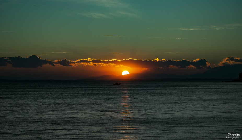 Sunset with a wonderful view, the most beautiful image that a person can have in his mind to be a...