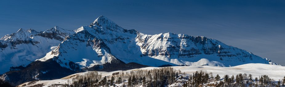 Wilson Peak just outside of Telluride, CO. Panoramic stitched image of 6 images capture the peak ...