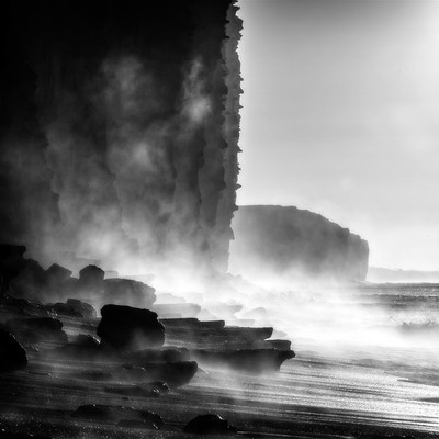 Juarassic. Sea steaming in the cliffs.