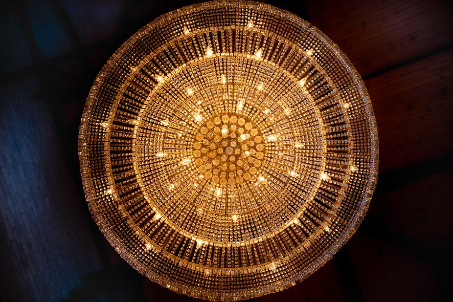 The underside of a grand Chandelier in Apollo Bay.