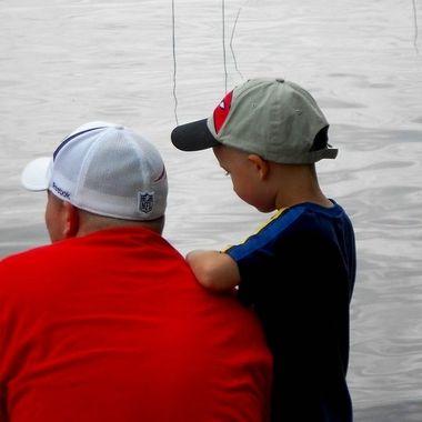 Father and son fishing on Lake Massabesic