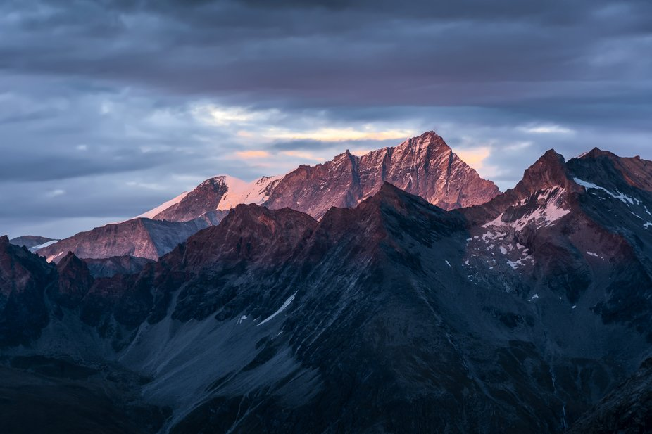 Alpenglow, the light I was hoping for. It was a cloudy day in the mountains and I was losing hope...