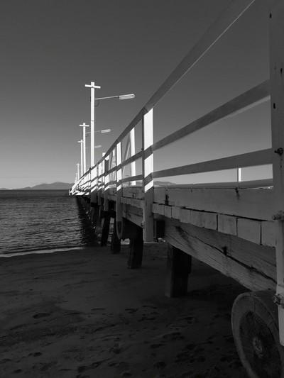 Picnic Bay Pier in B&W