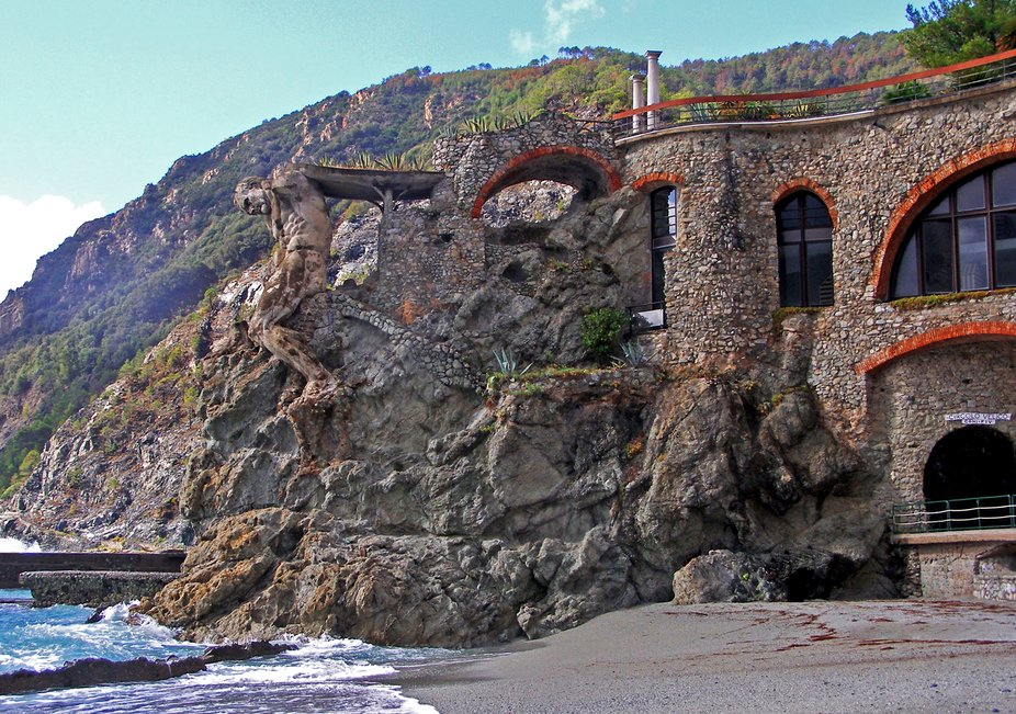 I gathered this image of the Monterosso Al Mare's stone statue from the beach while visi...