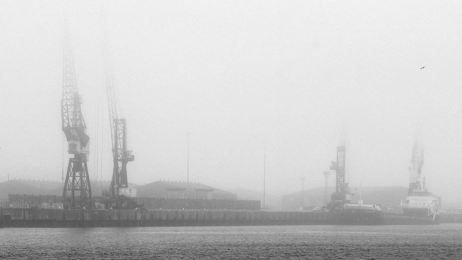 A foggy morning on the river Tees in north east England