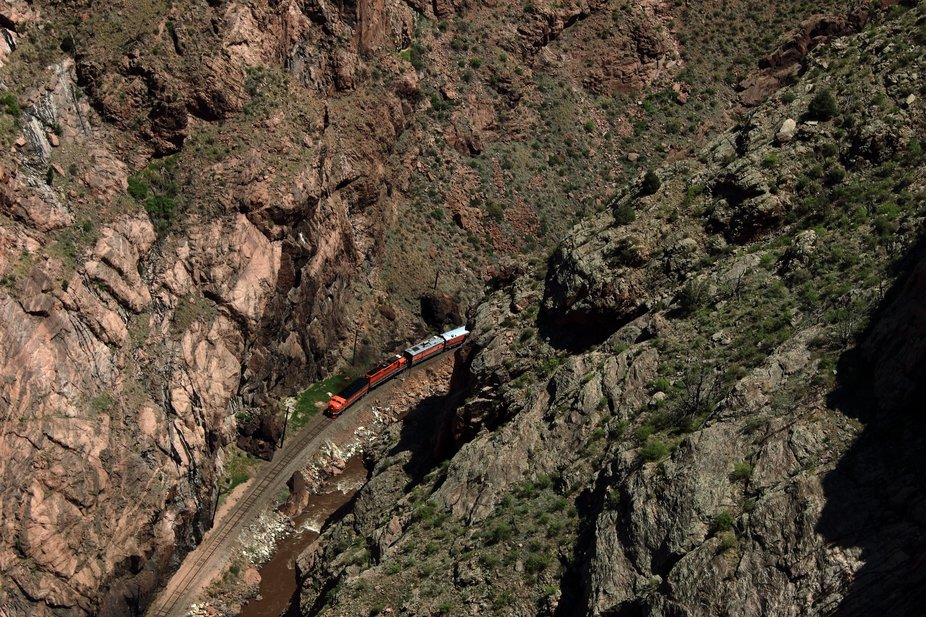 A train going through the Royal Gorge in Colorado.